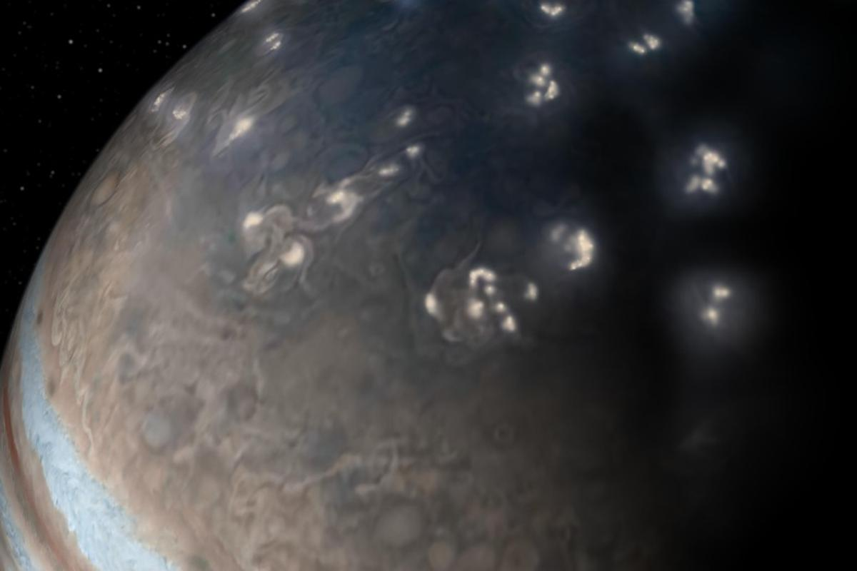 Artist's concept of lightning distribution in Jupiter's northern hemisphere