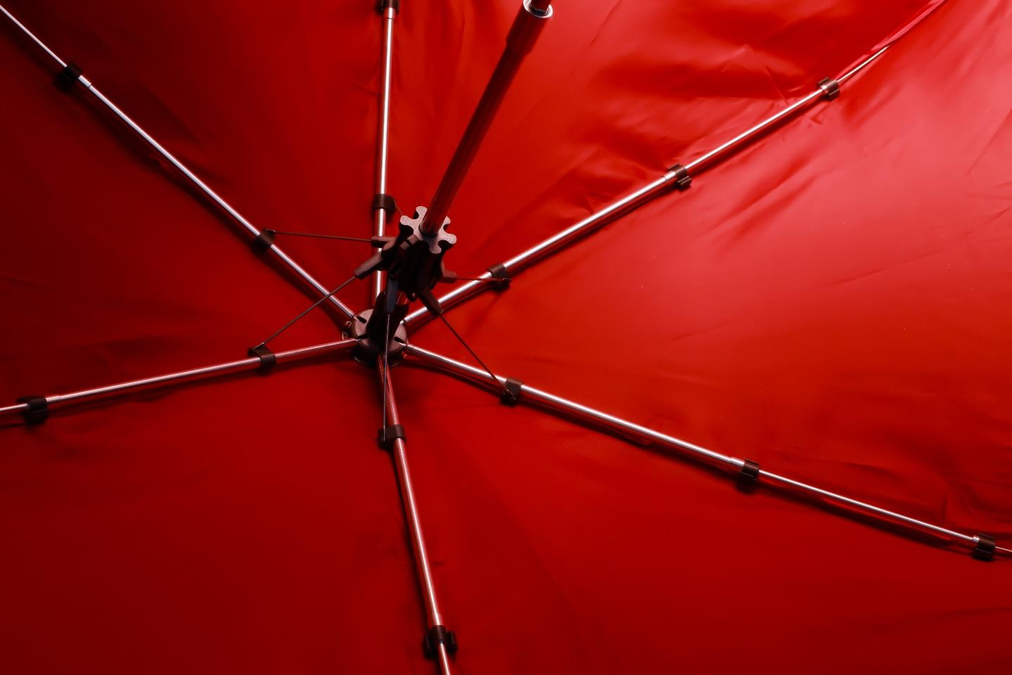 The Cypress Umbrella is designed so that each rib is able to pivot and adjust independently from the others