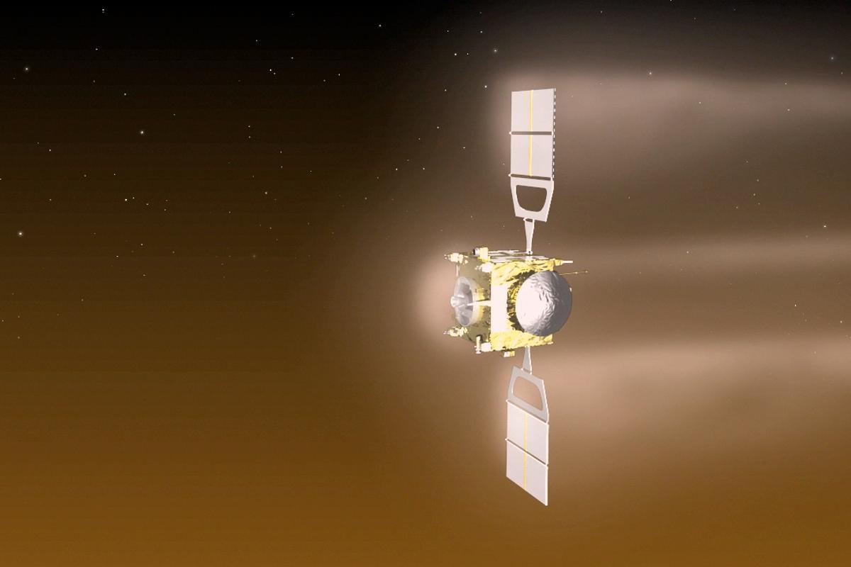 Venus Express carrying out aerobraking maneuver in July (Image: ESA–C. Carreau)