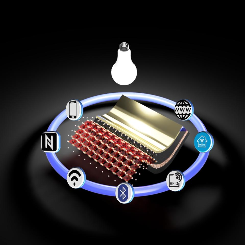 A concept drawing of the new flexible, perovskite solar cell for indoor lighting