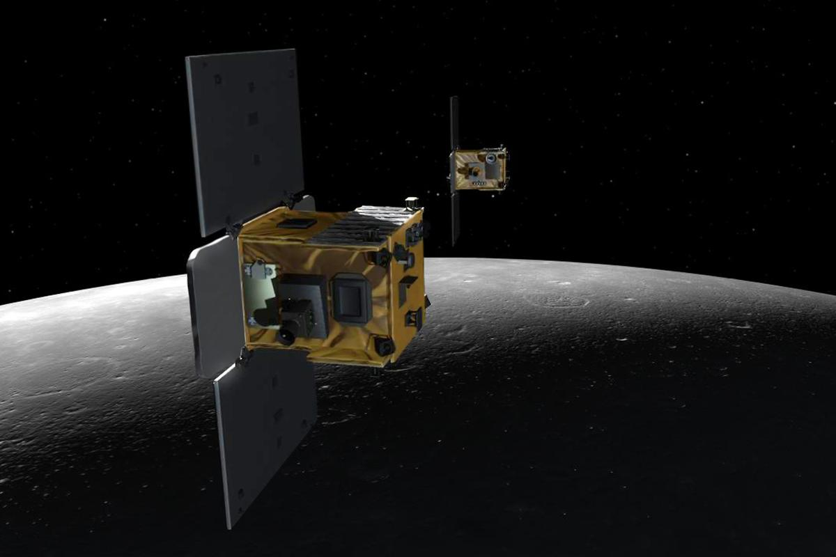 "Artist's impression of the GRAIL spacecraft, which has helped provide a better understanding of the Moon's distinctive ""seas"" (Image: NASA/JPL-Caltech/MIT)"
