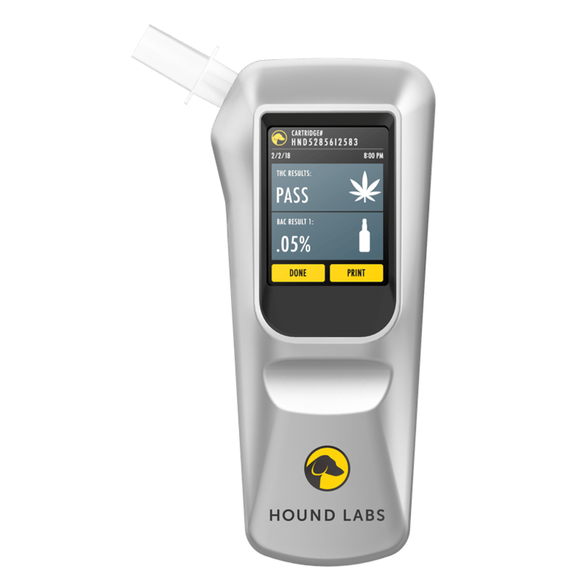 The prototype combination marijuana and alcohol breathalyzer from Hound Labs