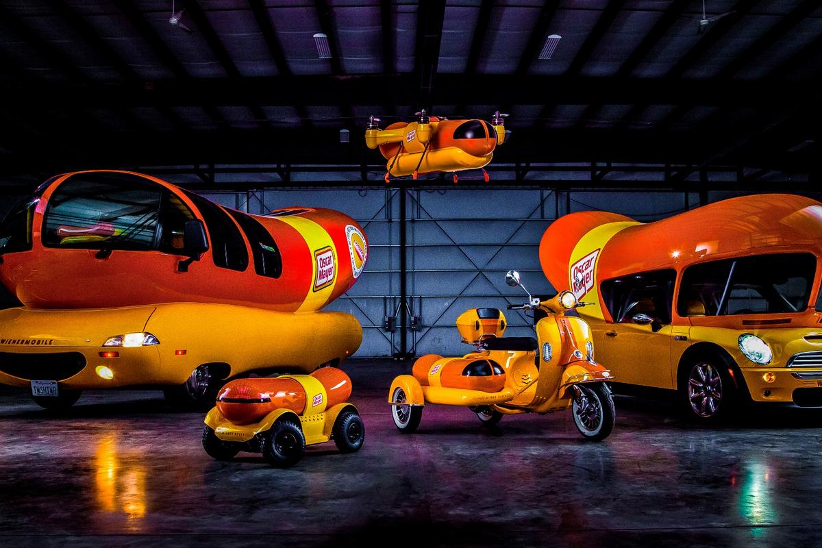 The WienerDrone (top), along with the Wienermobile, WienerMini, WienerRover and the also-new WienerCycle