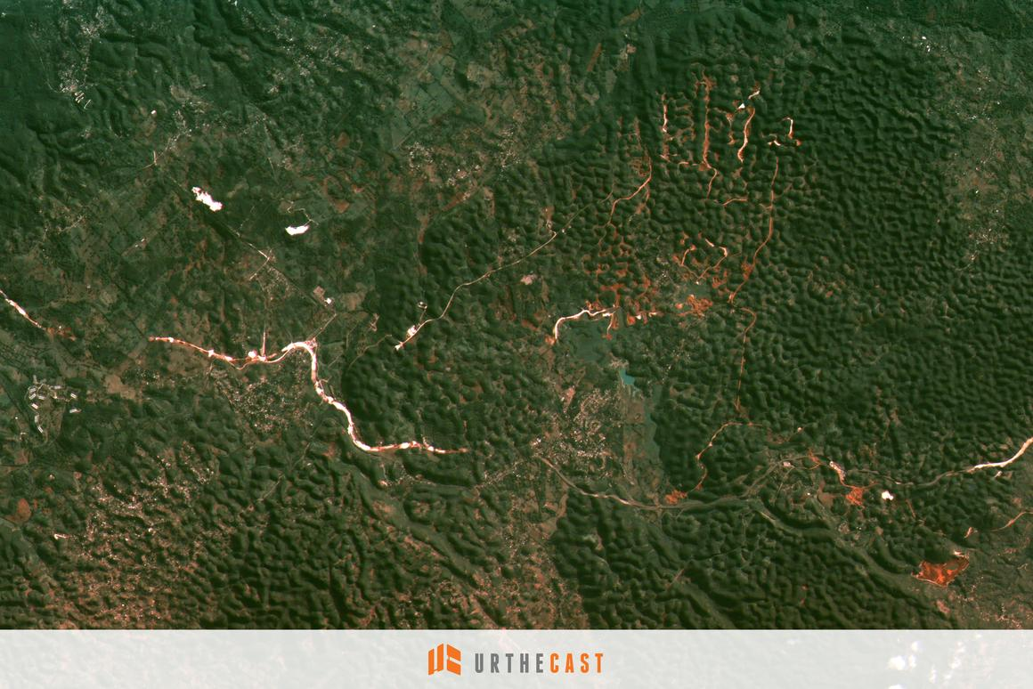 The city of Moneague, Jamaica and the surrounding countryside as imaged from UrtheCast's MRC (Photo: UrtheCast)