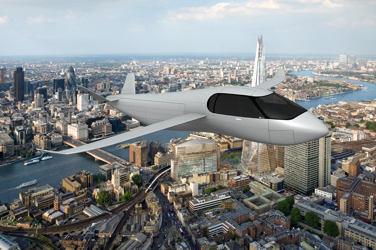 Artist's impression of the Krossblade SkyCruiser over London
