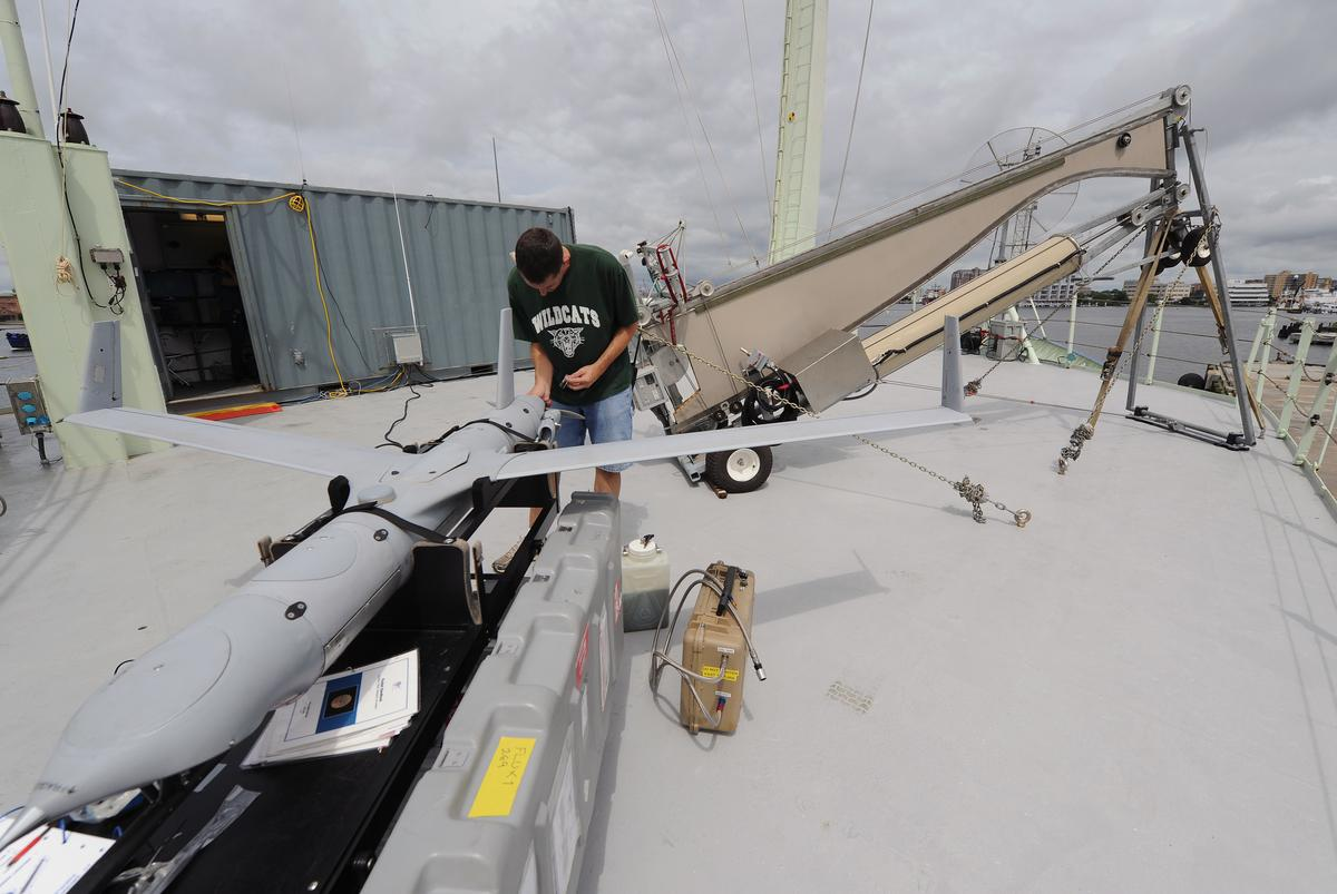 An ONR ScanEagle being prepared for launch (Image: ONR)