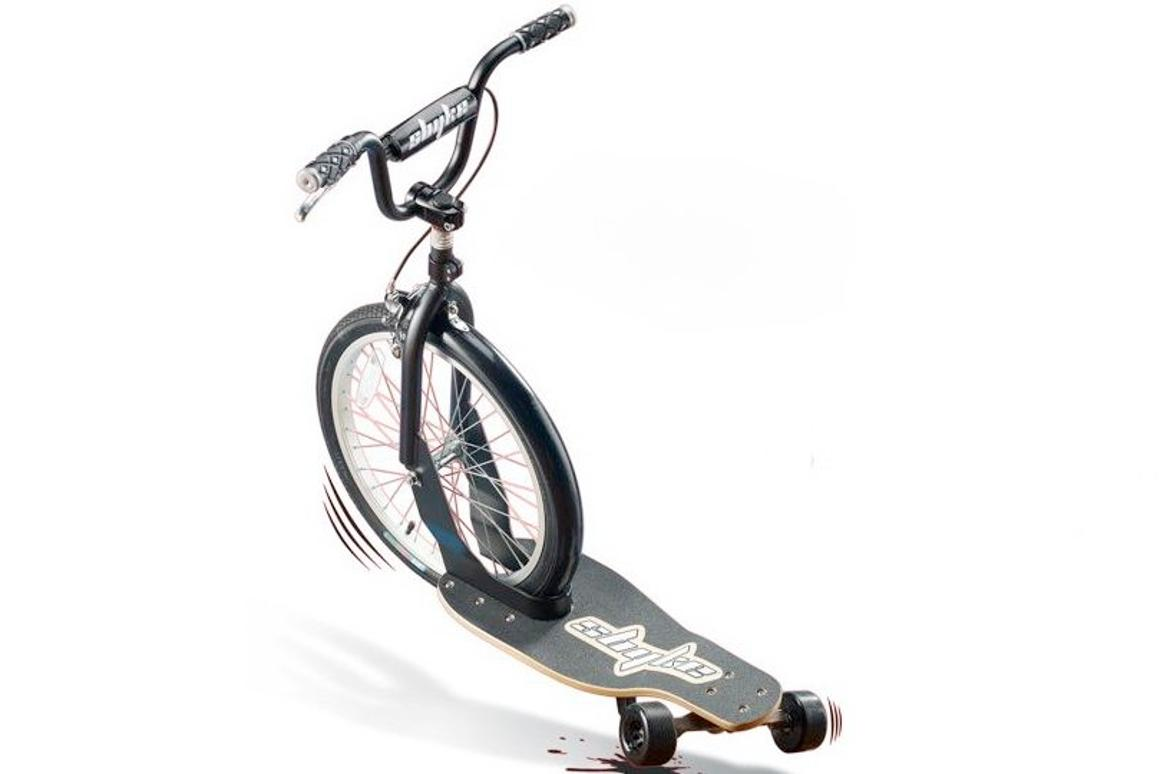The sbyke takes elements from BMX bikes and skateboards to make a rear-steering scooter
