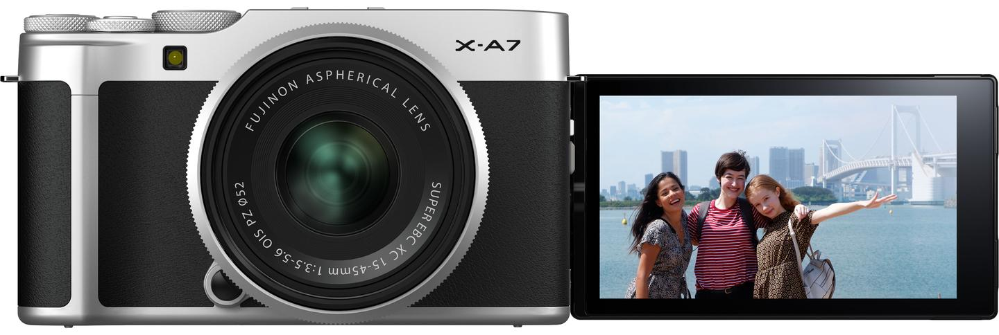 The X-A7 gains a large articulating display panel that can be flipped out for selfies