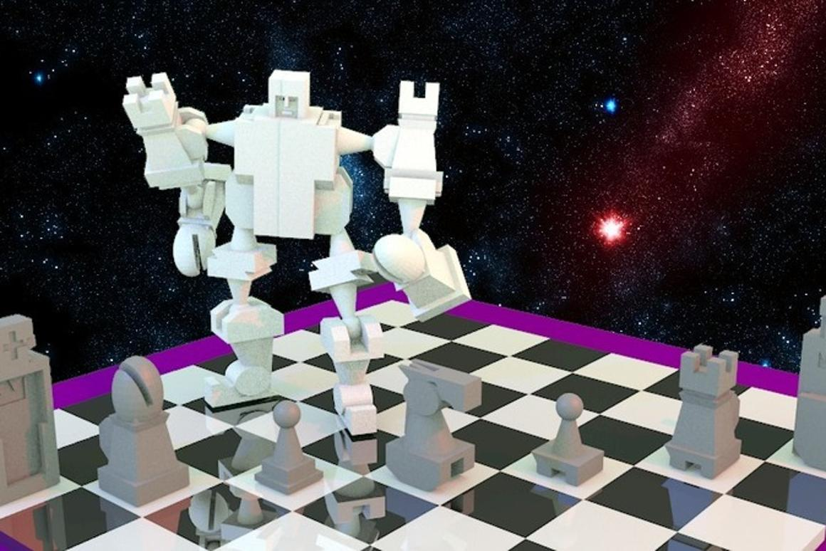 """The pieces in Joseph Larson's 3D-printable chess set fit together into what he describes as """"the ultimate chess fighting robot"""" - two of them, actually, with inverted knights for feet and bishops for hands"""