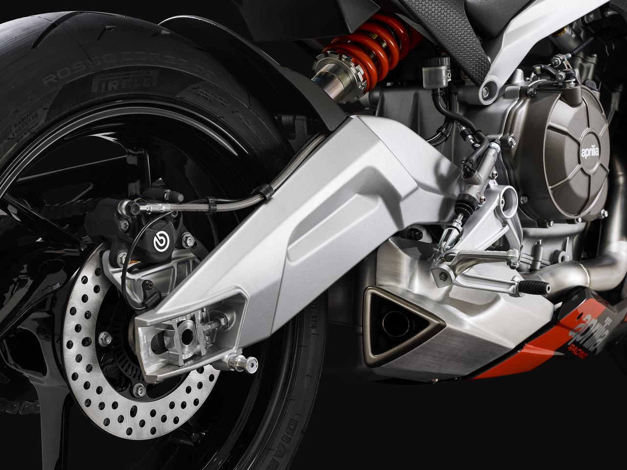 Sexy aluminum swingarm and underslung, hidden exhaust