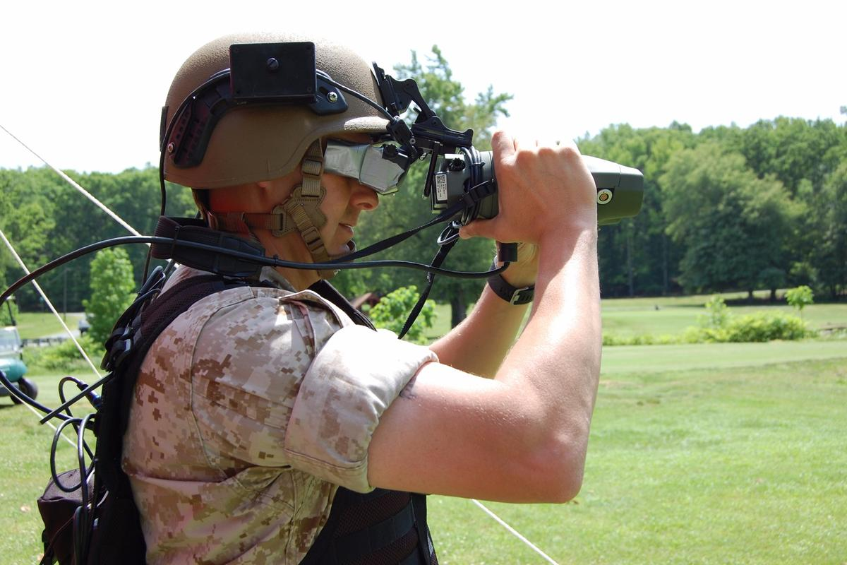 The Augmented Immersive Team Trainer (AITT) system being demonstrated on May 21, 2015 at Marine Corps Base Quantico in Quantico, VA