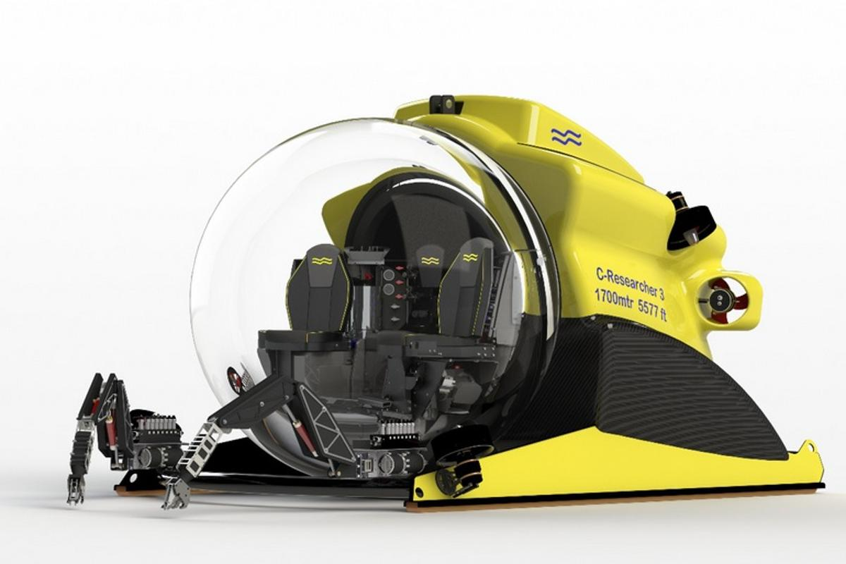 C-Researcher 3 features a fully acrylic pressure hull and a staggering 1,700 meter depth-rating