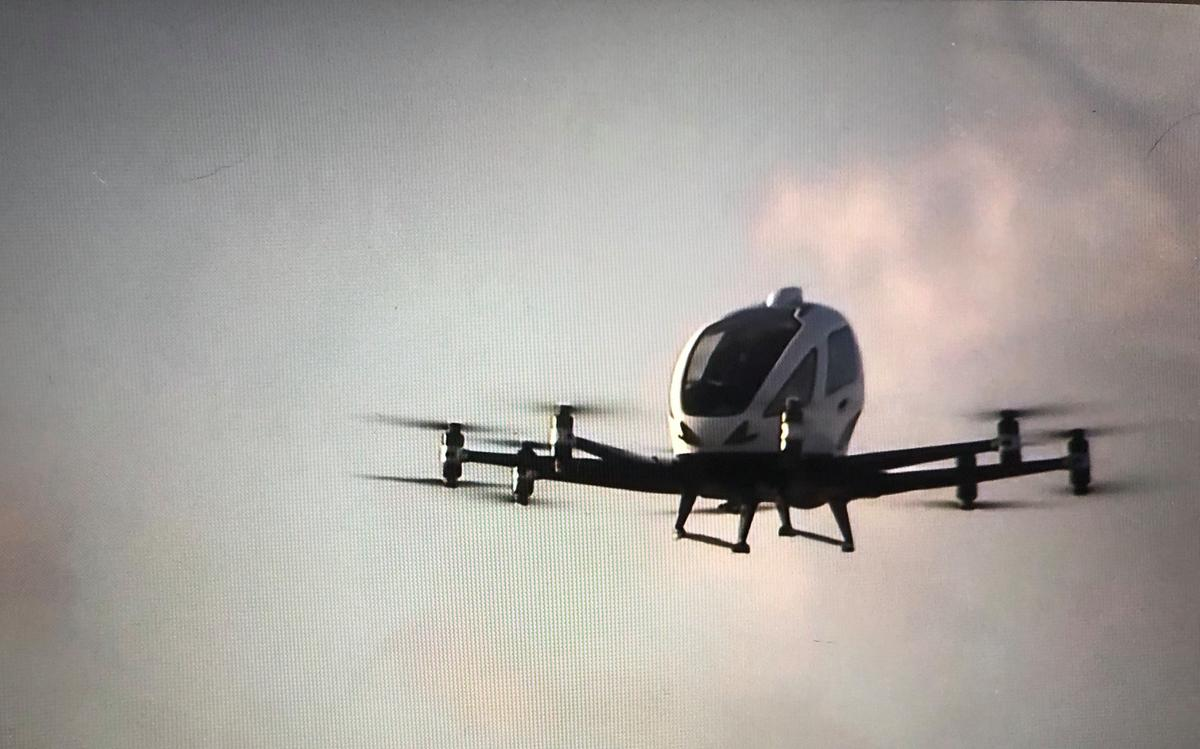 The first flight test of the Ehang 216 took place ahead of the 2020 North Carolina Transportation Summit