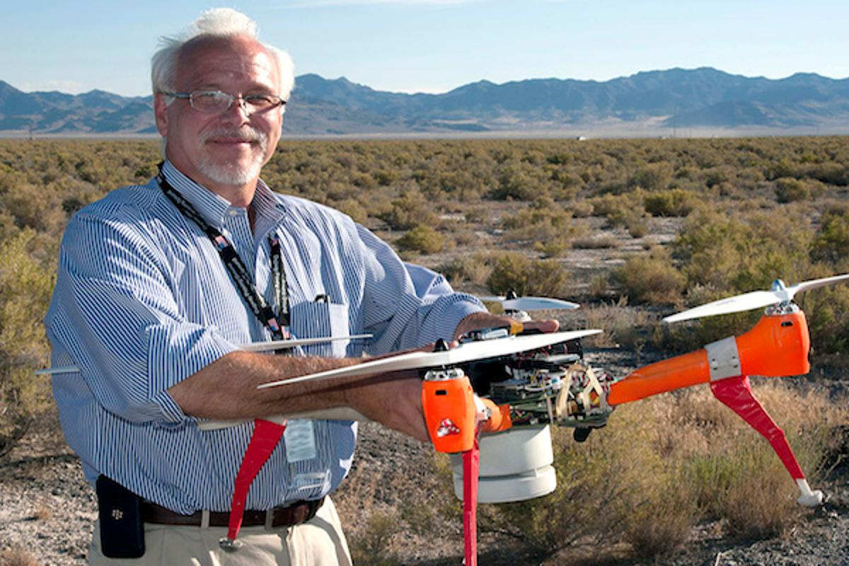 ECBCDirector, Joseph Corriveau, with Deep Purple, one of twodrones used to sniff out chemical and biological agents in a recent two-week test