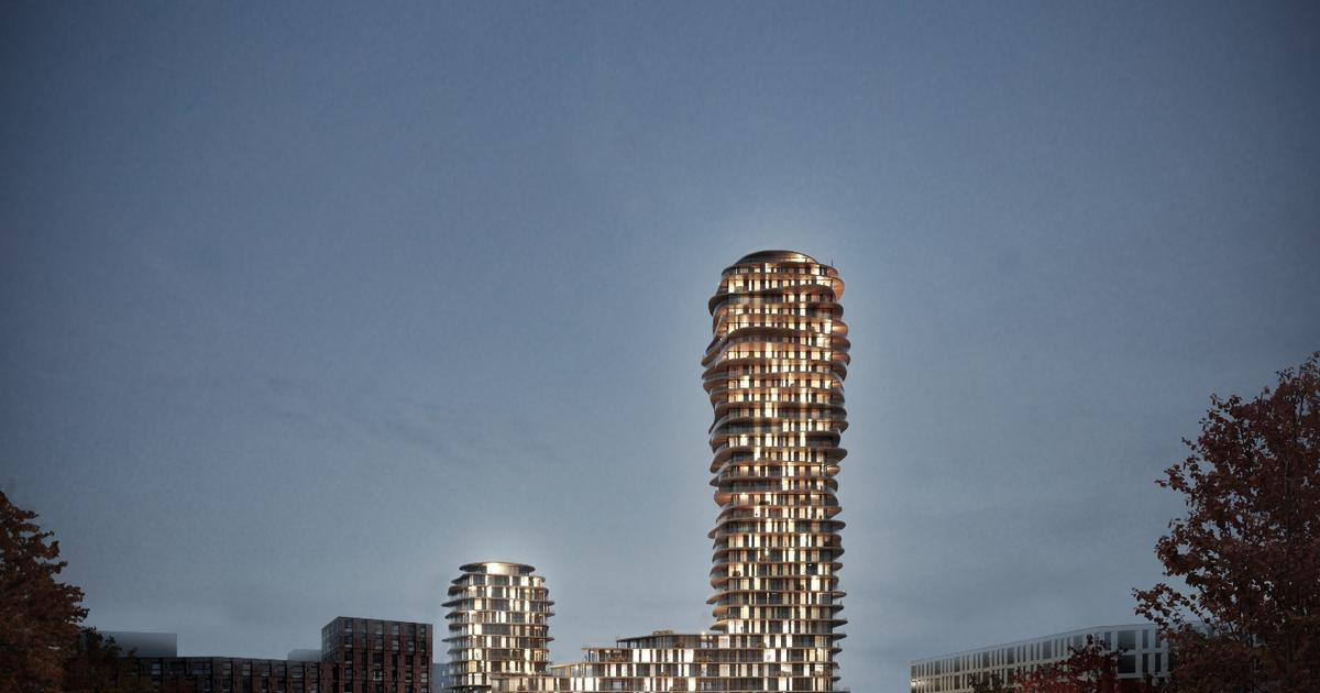 30 stories of stacked irregular discs to form landmark tower in Stockholm