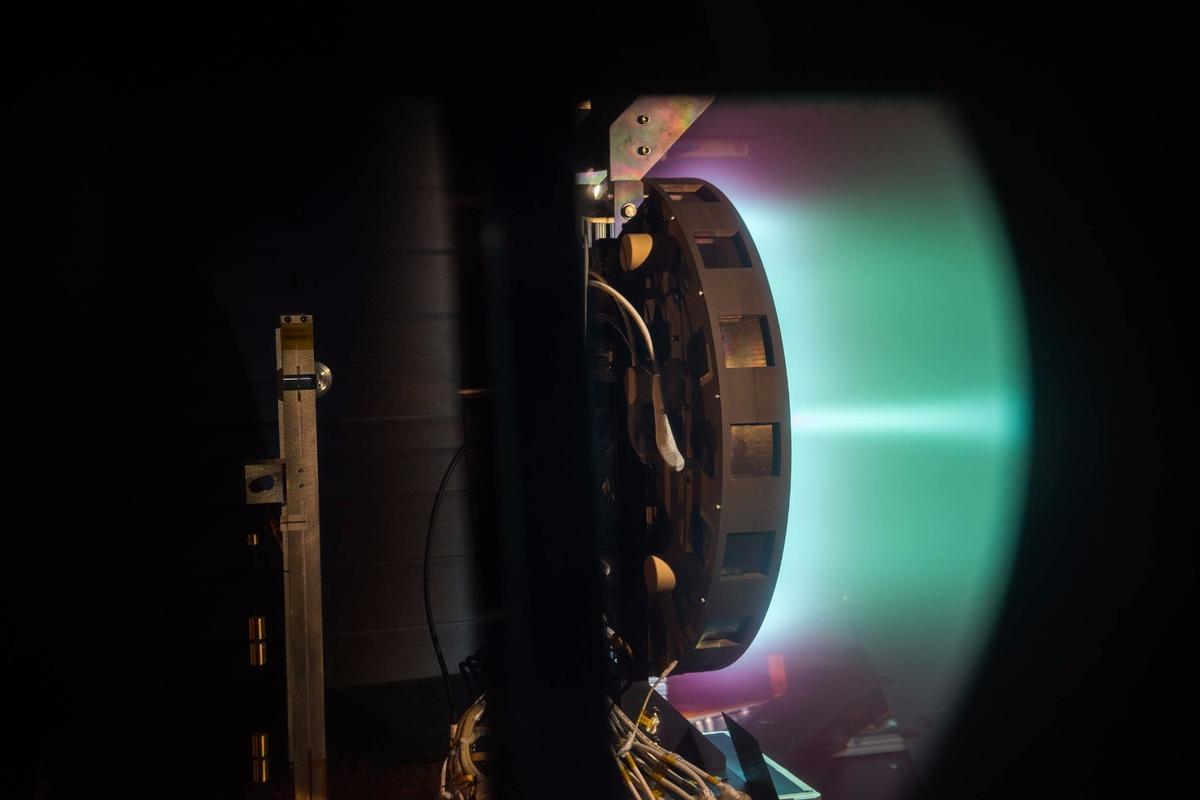 The X3 thruster being tested at the NASAGlenn Research Center, firing at 50 kilowatts