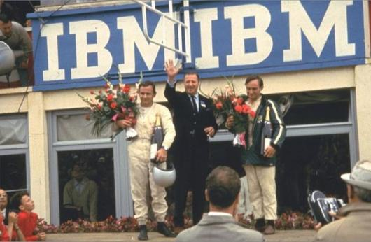 The special moment for Henry Ford II in 1966 with winning drivers Bruce McLaren (who later formed one of the most successful racing teams in history) and Chris Amon.