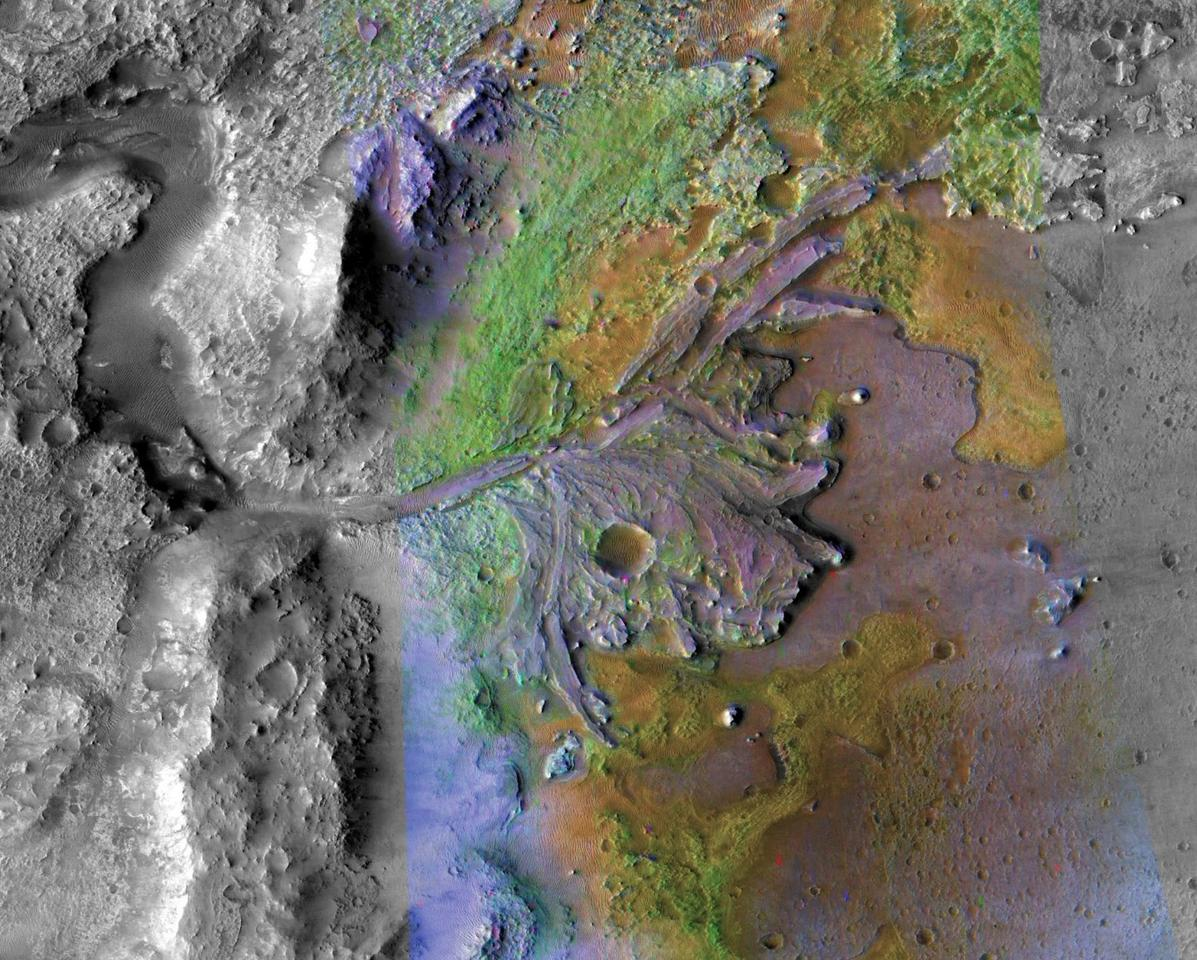 This image  of Jezero Crater delta combines information from two instruments on NASA's Mars Reconnaissance Orbiter, the Compact Reconnaissance Imaging Spectrometer for Mars and the Context Camera
