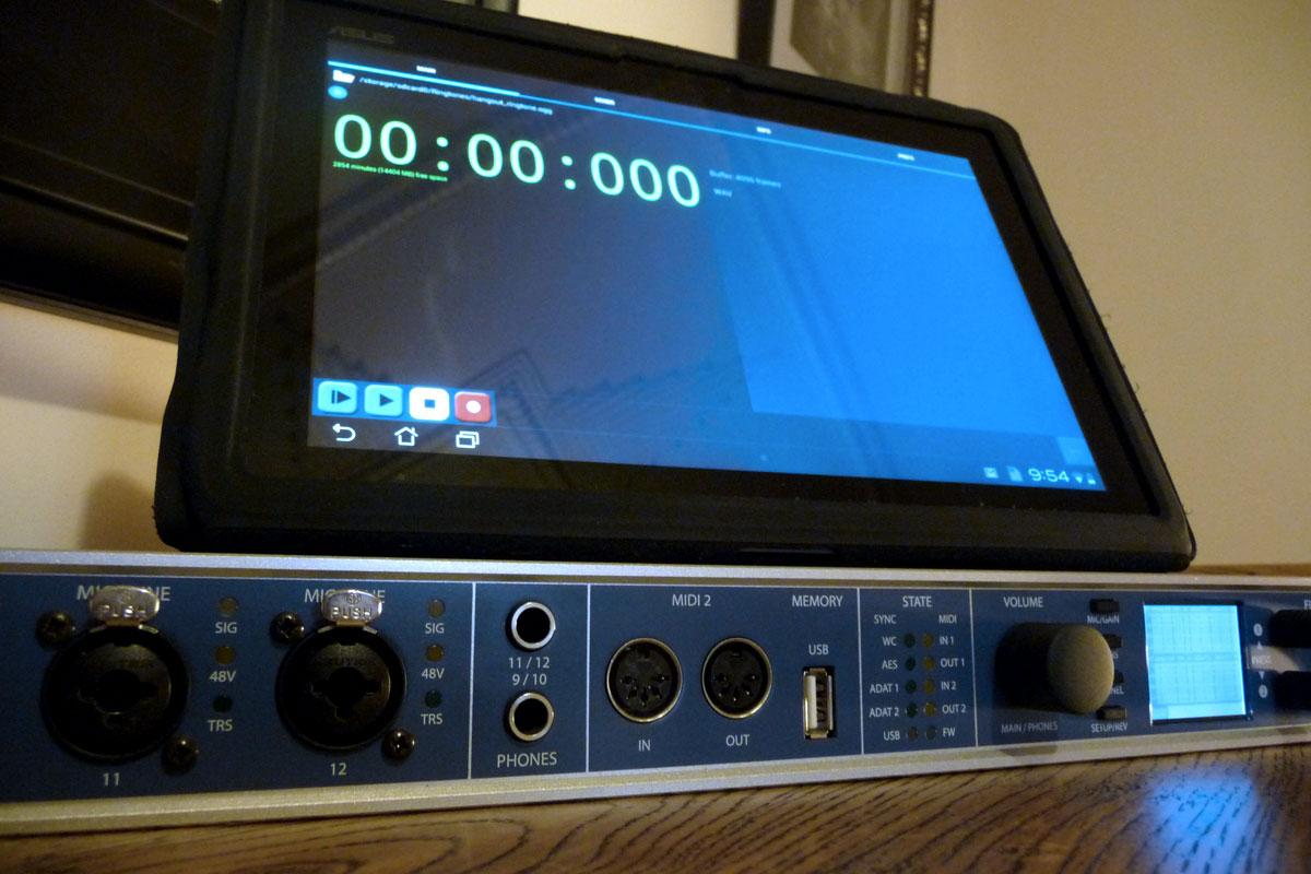 eXtream's USB Audio Recorder PRO on a tablet