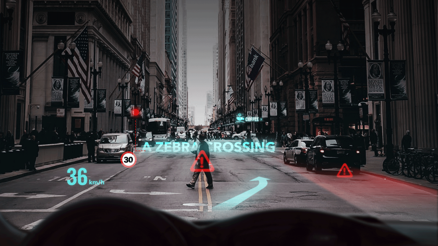 Futurus envisions its display technology could be used to highlight hazards detected by the car's systems