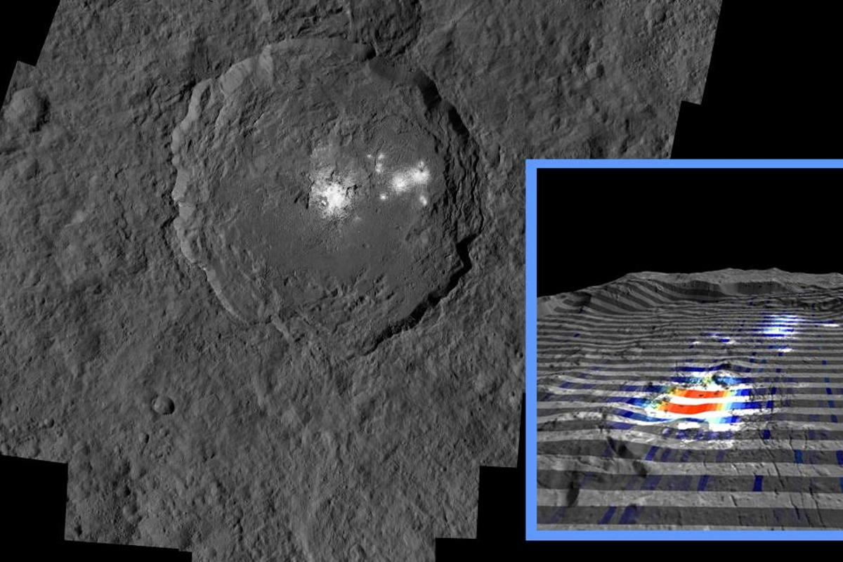 A new infrared look at Ceres' bright spots finds lots of salts, seen in red