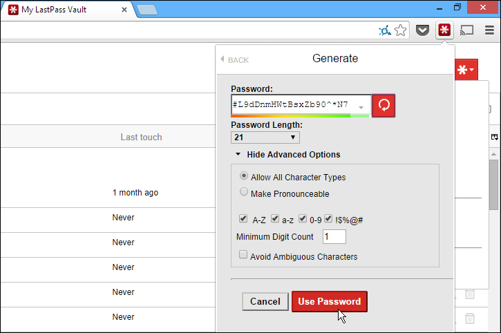 LastPass generates and securely stores complex passwords