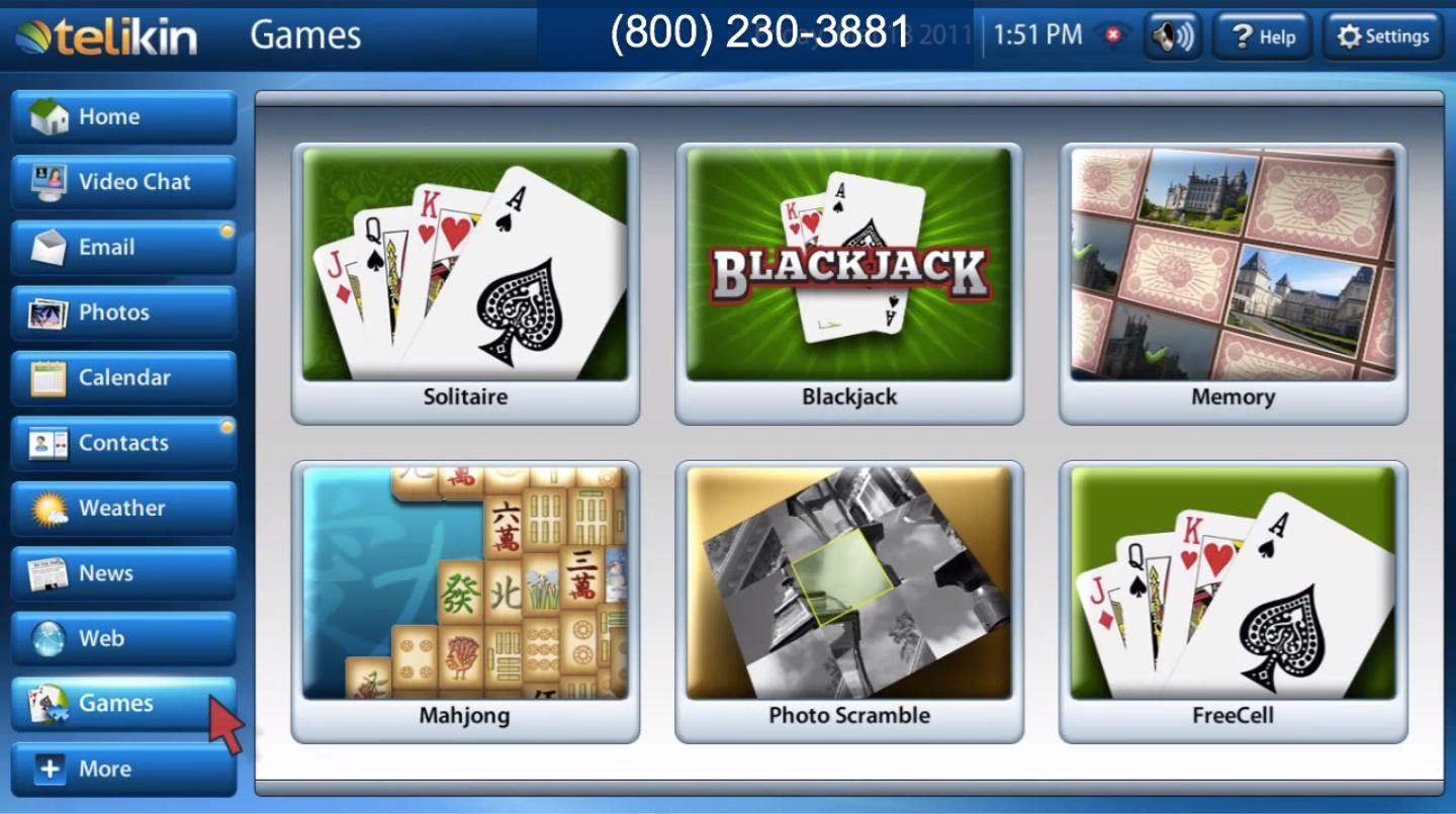 The Telikin software comes with a small suite of card and board games