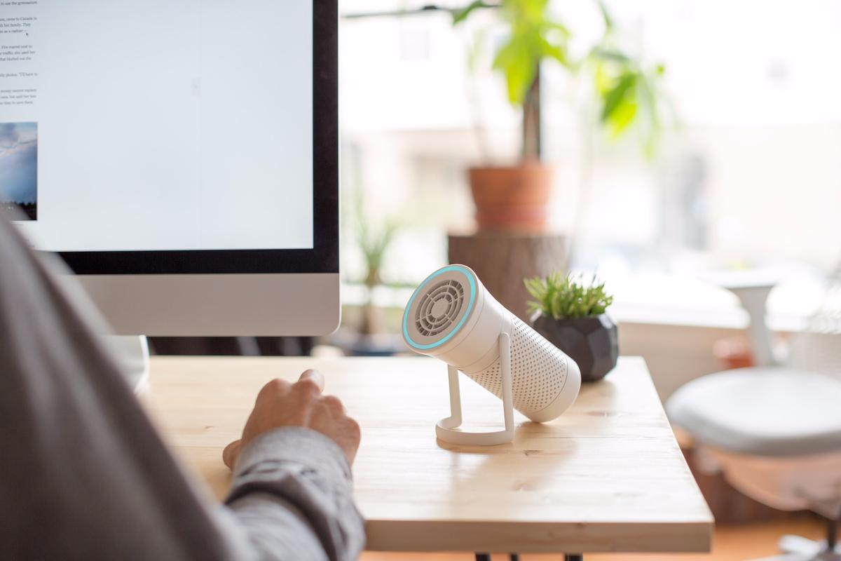 Wynd is a portable air purifier that is about the size of a regular water bottle