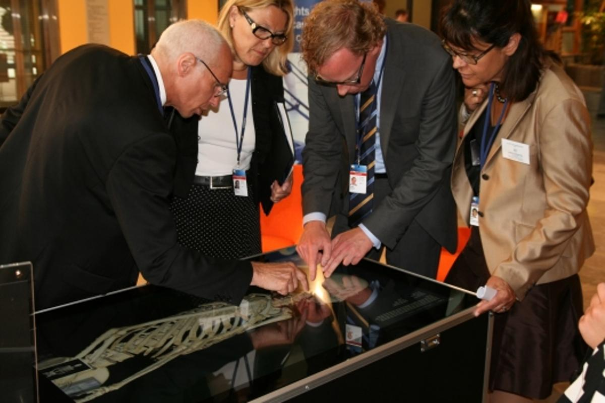 The Virtual Autopsy Table is demonstrated by Prof Anders Persson, CMIV, at the Health ministerial meeting in Jönköping, Sweden (Images: Norrköping Visualization Center/CMIV)