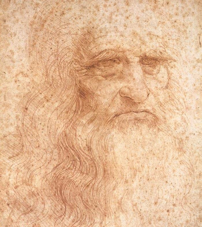 Detail of da Vinci's famous self-portrait, which is rapidly deteriorating from the effects of years of exposure to pollution, light, and heat