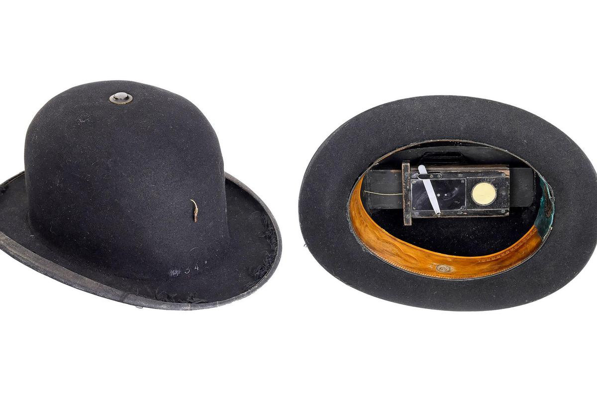 Detective hat camera, c. 1880 - 1890, is a standard bowler with built-in fixed-plate, fixed-focus camera – estimate €12,000 - €18,000