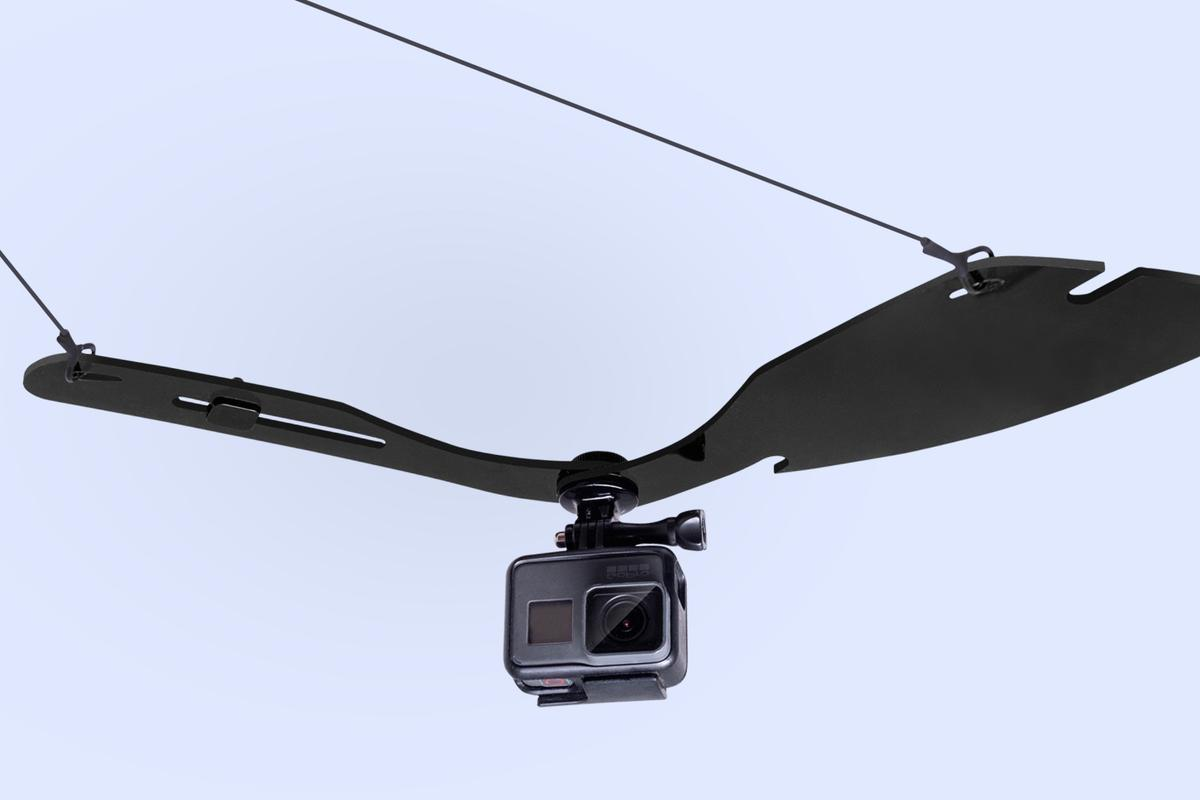 The Wingo Pro works with third-party actioncams, and has an adjustable counterweight to keep it balanced