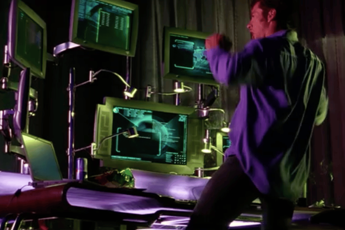 "Hugh Jackman dance-hacking (or hack-dancing?) in ""Swordfish"""