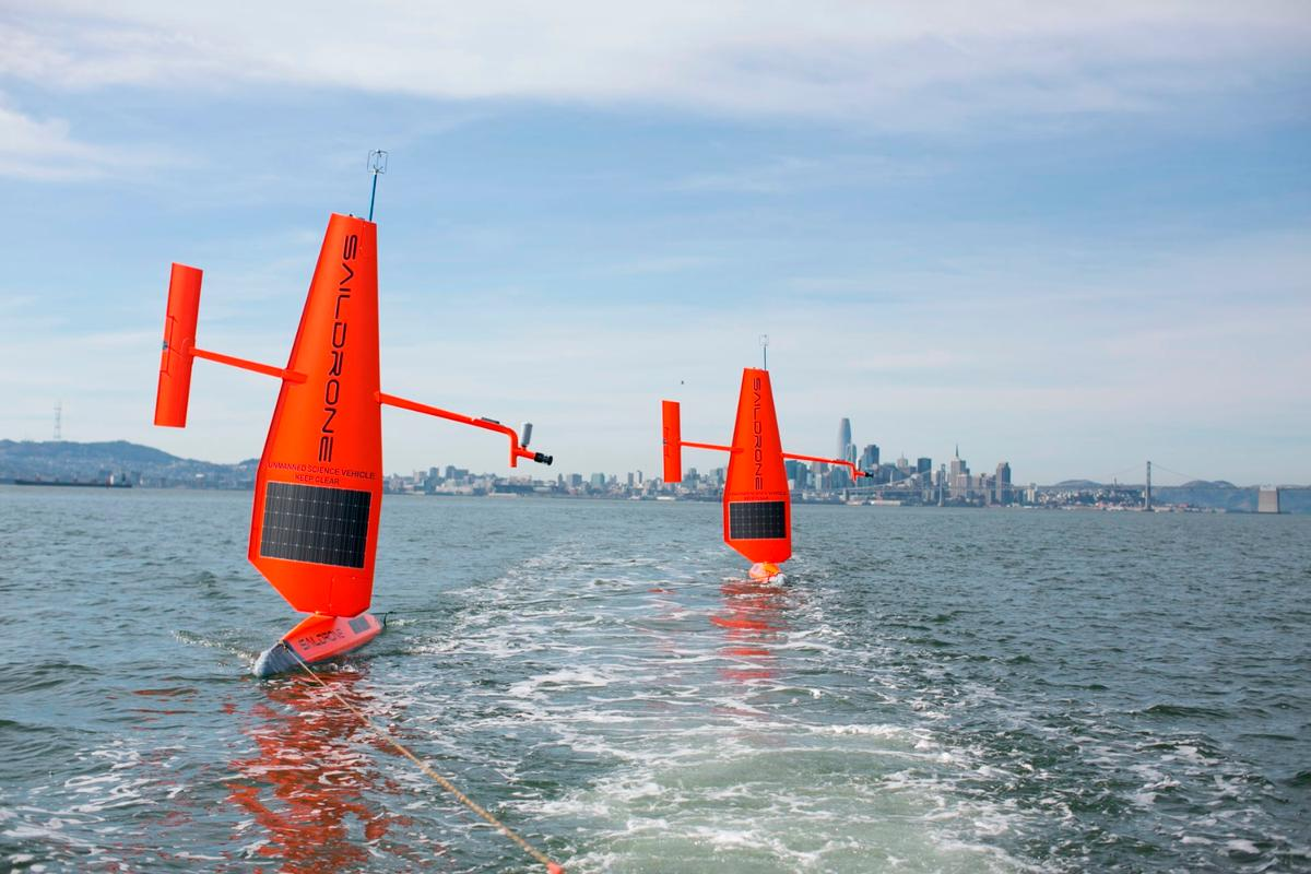 Saildrones being tested at their home city of San Francisco