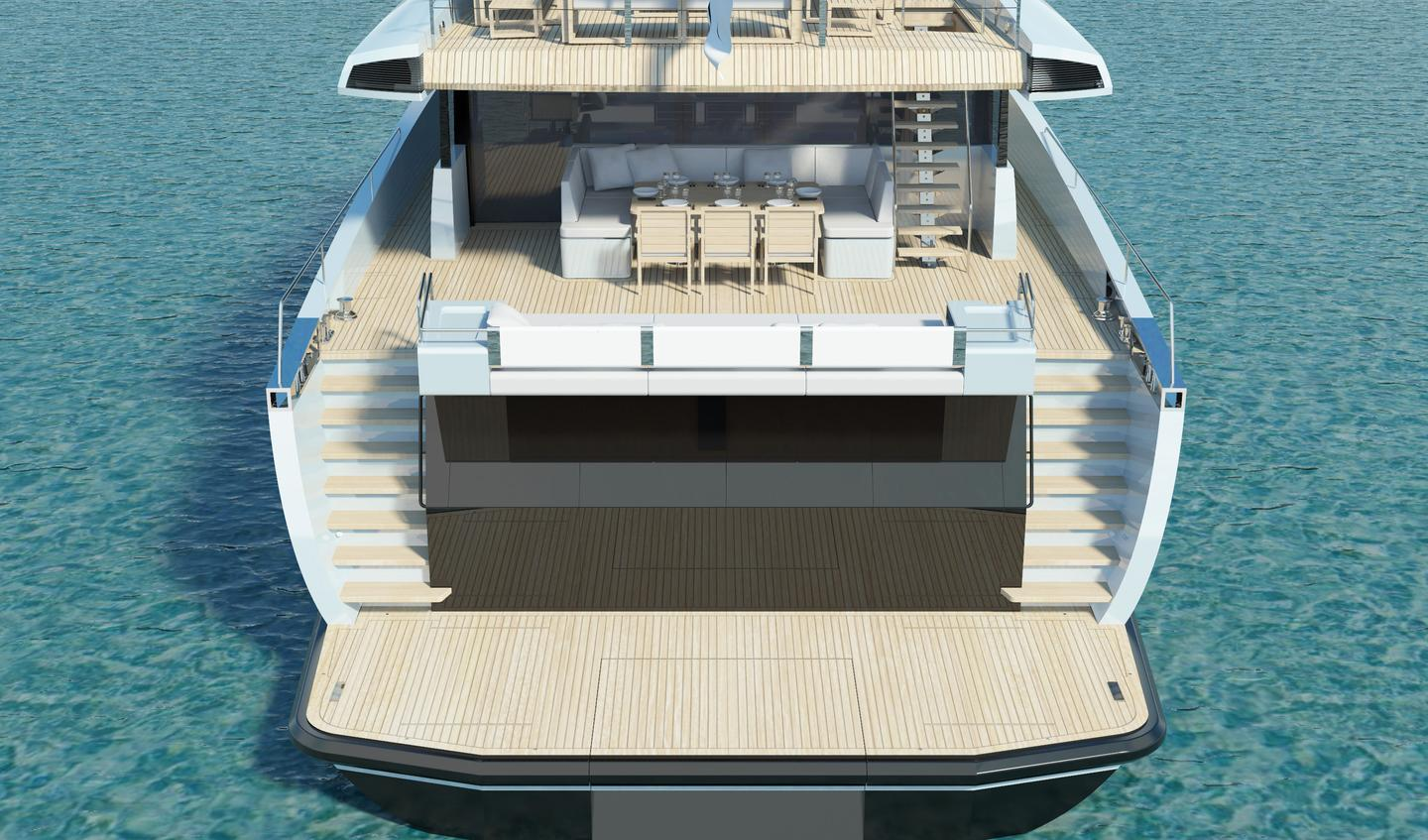 The Wally ACE displacement yacht - rear