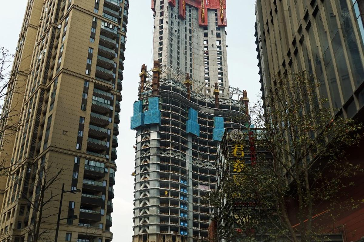 The Wuhan Greenland Center will reach a height of 636 m (2,086 ft)