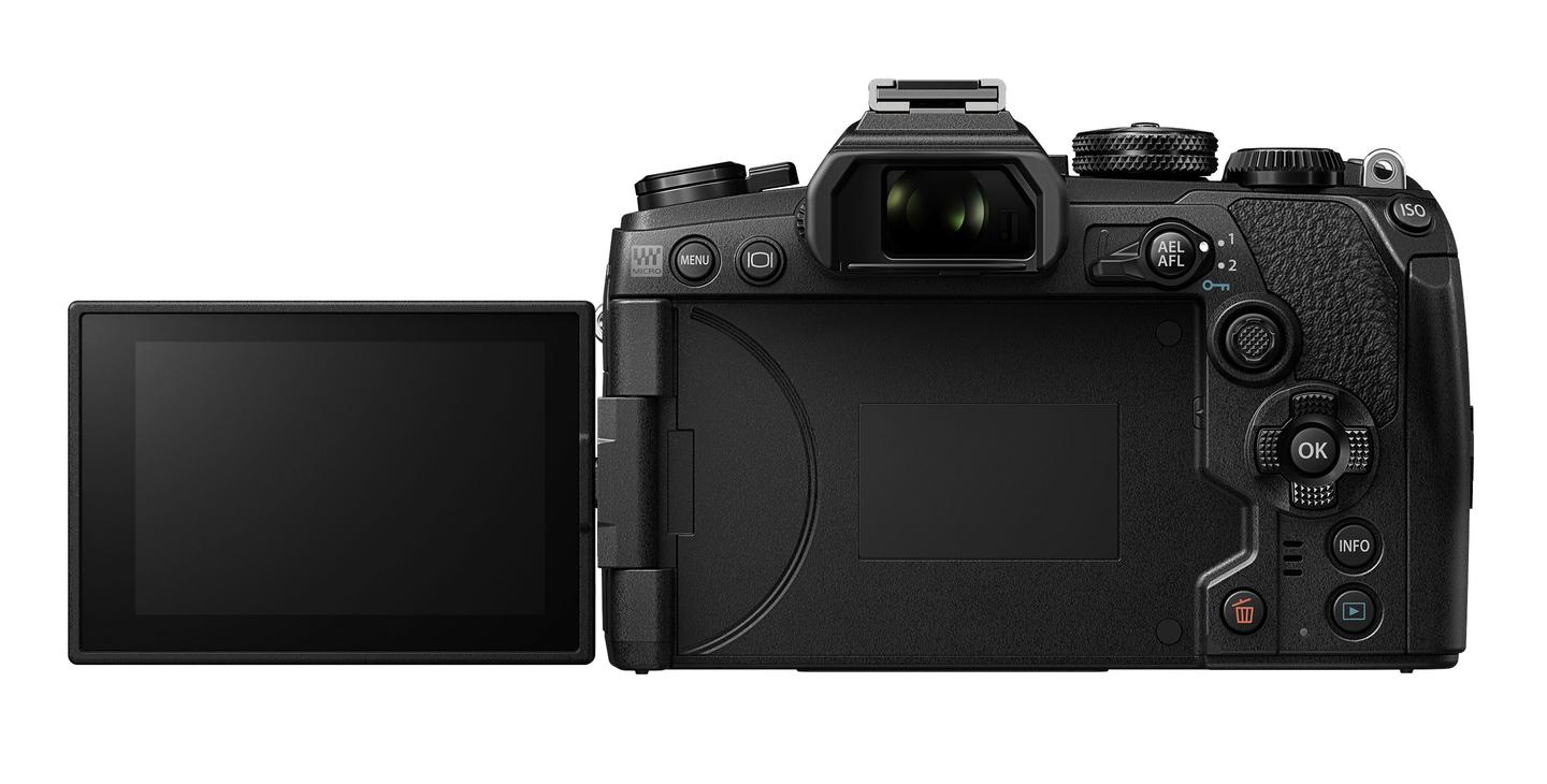 The E-M1 Mark III features a 3-inch vari-angle touch monitor around back