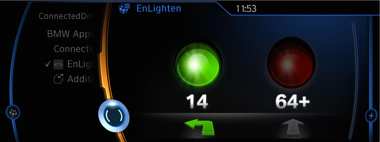 When used in a BMW, EnLighten is also able to monitor left turn traffic lights