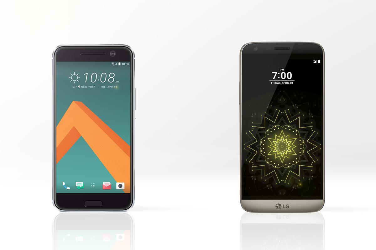 We compare two top Android flagships: the HTC 10 (left) and modular LG G5