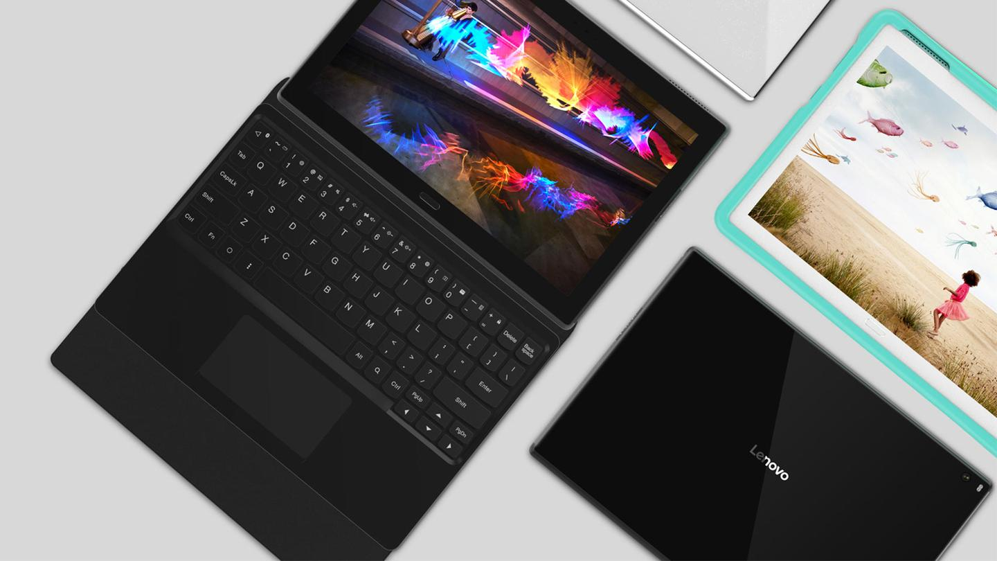 Lenovo's MWC announcements include the Tab 4, shown here with the Productivity Pack and Kids Pack