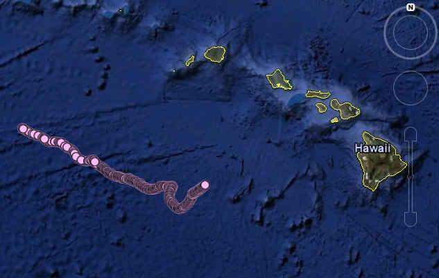 Plot map of the path of the SOLO-TREC autonomous underwater vehicle since its deployment south of Hawaii on November 30, 2009 (Image: NASA/JPL/SIO/NOAA/US Navy/NGA/GEBCO/Google)