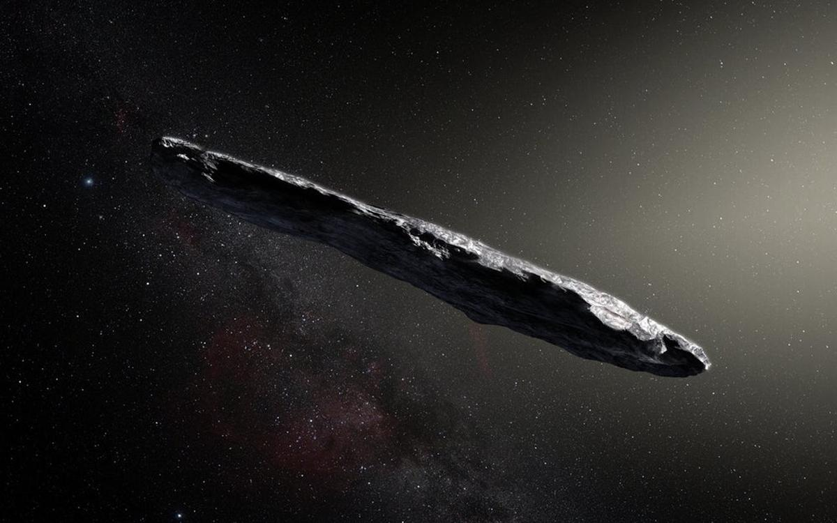 An artist's impression of 'Oumuamua, the first interstellar asteroid
