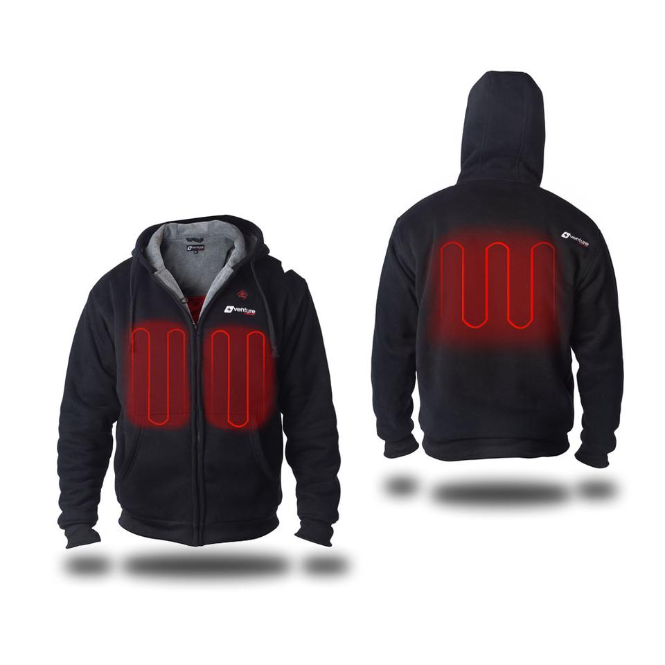 The Evolve Heated Hoodie features a trio of heating panels, one on the back and one on each side of the chest