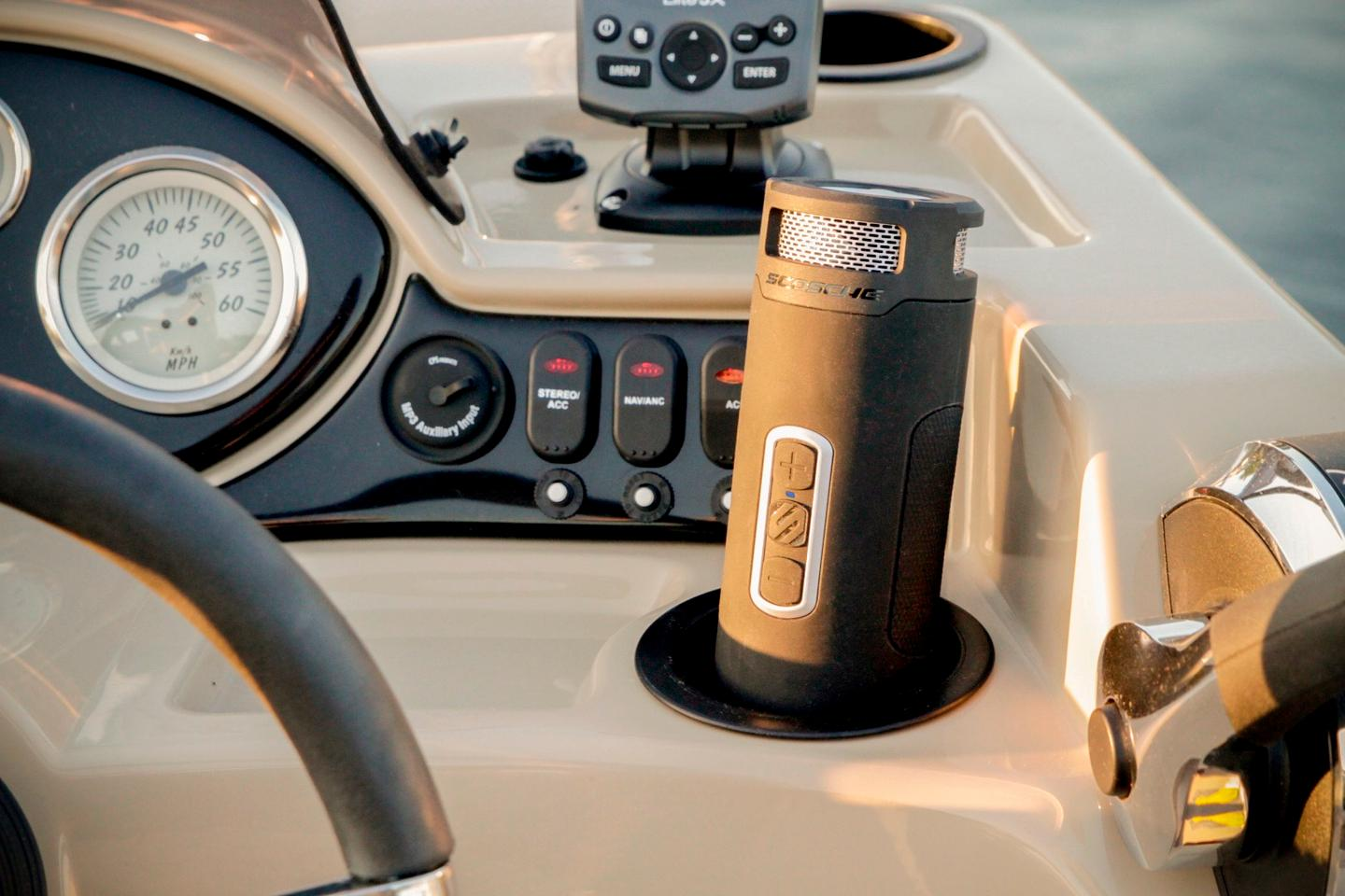 The Scosche BoomBottle+ can fit in most modern vehicle cup holders