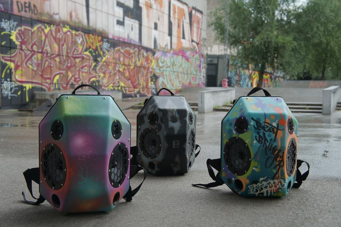 The BeatBringerbackpack speakerwill be available withcustom paint jobs by graffiti artist Becomeone, as a special tier during an upcoming Kickstarter campaign