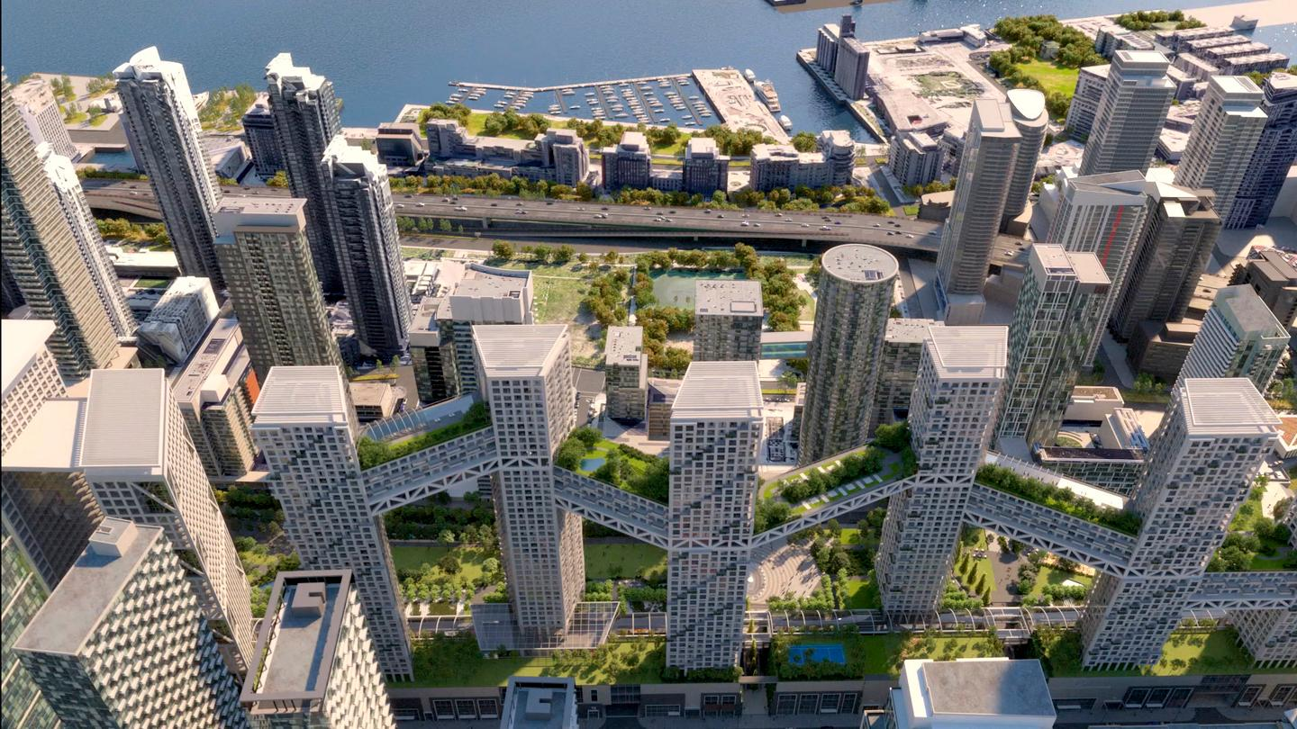 Orca Toronto will consist of eight residential towers and an office tower. A series of skybridges will connect the residential towers