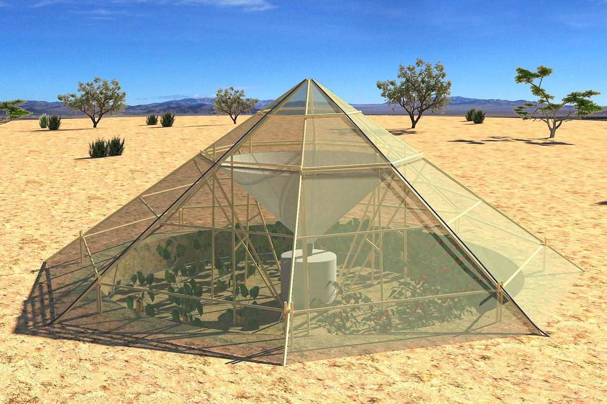 Roots Up has designed a greenhouse for use in hot, dry climates that collects dew for irrigating the crops inside