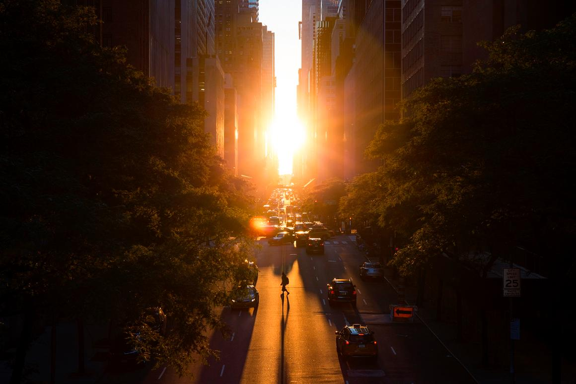 """Manhattanhenge, in New York, New York, by Francis-Ssu-ing Wu, is an AIA