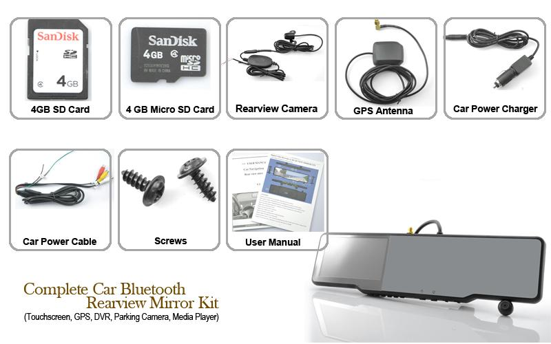 What you get with the Complete Car Bluetooth Rearview Mirror Kit