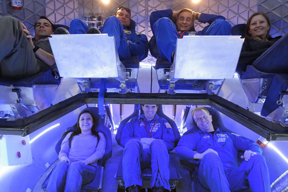 The trial crew (from left): NASA Crew Survival Engineering Team Lead Dustin Gohmert, NASA Astronaut Tony Antonelli, NASA Astronaut Lee Archambault, SpaceX Mission Operations Engineer Laura Crabtree, SpaceX Thermal Engineer Brenda Hernandez, NASA Astronaut Rex Walheim, and NASA Astronaut Tim Kopra